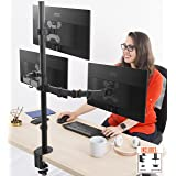 Stand Steady 3 Monitor Desk Mount Stand | Height Adjustable Triple Monitor Stand with Full Articulation and Desk Clamp | VESA Mount Fits Most LCD/LED Monitors 13-32 Inches (3 Arm Clamp) (Color: Three Monitor Clamp, Tamaño: Three Monitors)