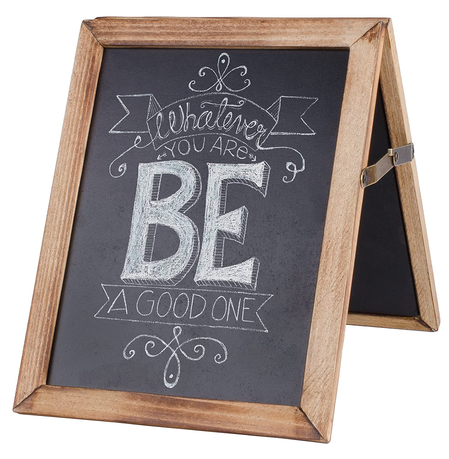 """Dwellbee Vintage Rustic Framed Collapsible Double Sided Chalkboard Sign for Wedding, Baby, Kitchen, Home Decor, and Restaurant (7.75"""" x 9.75)"""
