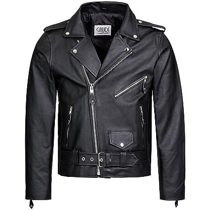 Herren Lederjacke Brando Jacke Rindleder Biker Motorrad Chopper schwarz, Marke Gaudi-Leathers