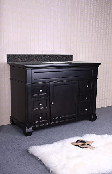 "48"" Single Bathroom Vanity Set with 4 Drawer Base Finish: Absolute Black Granite"