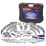 WORKPRO Socket Wrench Set, 164-piece Mechanics Tool Kit 1/4 Inch, 3/8 Inch and 1/2 Inch Drive Quick Release Ratchet, Metric and Standard 6-Point 12-Point Sockets, with Blow Molded Case (Tamaño: 164-Piece)