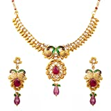 Touchstone Indian Bollywood Peacock meenakari White Purple Jewelry Necklace in Antique Gold Tone for Women (Color: Multicolor)