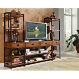Modern Craftsman Distressed Oak 3Piece Entertainment Center by Home Styles (Color: Distressed Oak/Metal, Tamaño: 94