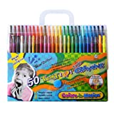 50 Colors-in-Motion Twist-up Crayons, Colored Pencils, Kids Crayon, Adult Coloring, Professional Drawing (7 in length) (Color: 50 Colors, Tamaño: 7 inches)