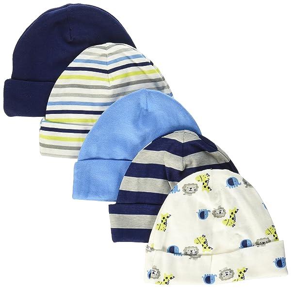 Gerber Baby Boys' 5 Pack Caps, Safari, 0-6 Months