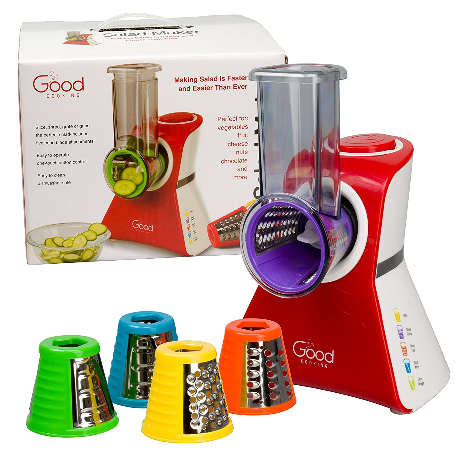 Salad Maker - Electronic Shredder, Slicer, Chopper, & Shooter By Good Cooking cooking by hand