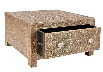 """Sit-Möbel 9380-22 mesa de centro """"Brass"""", 70 x 40 cm, funda de latón, marrón"""