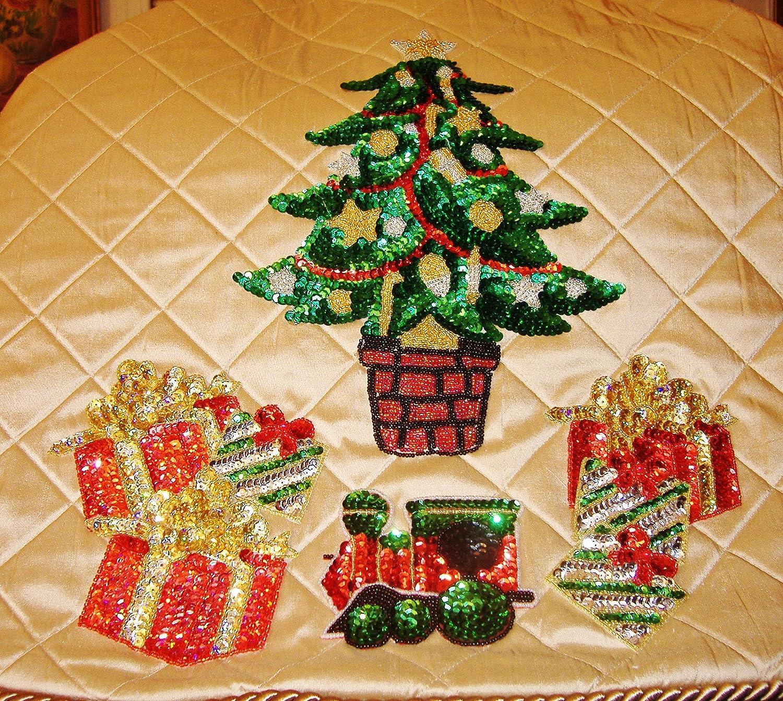 Silk Christmas Tree Skirt w/Green Sequins