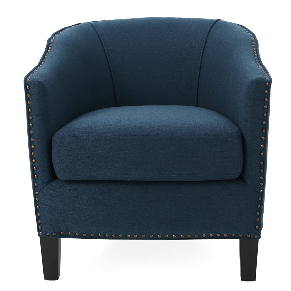 Jolivi | Fabric Club Chair with Studded Accents | in Deep Blue