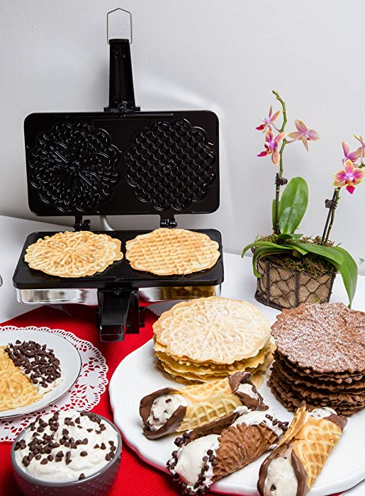 "CucinaPro Non-Stick Pizzelle Maker 220-05NS - Makes Two 5"" Cookies at Once via Amazon"