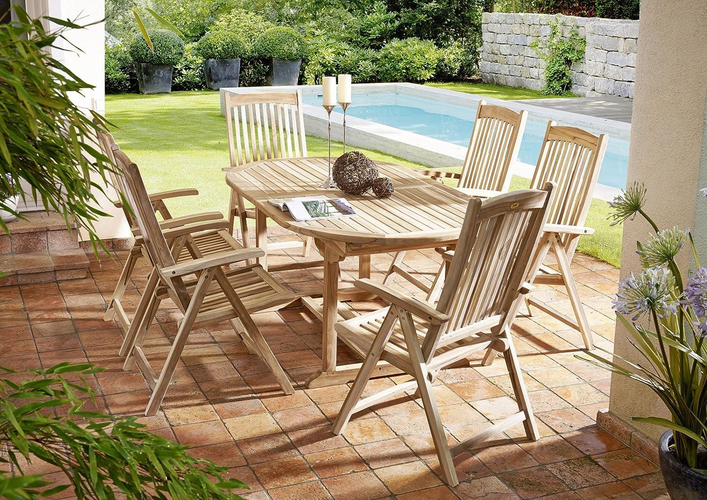 7 teilige Gartengruppe Aruba, 6 x Hochlehner Solo, Garten-Möbel aus Teak-Holz, Garten-Set aus Massivholz , Garten-Tisch Esstisch mit Schirmloch, Ausziehtisch 180 – 240 x 100 cm bestellen
