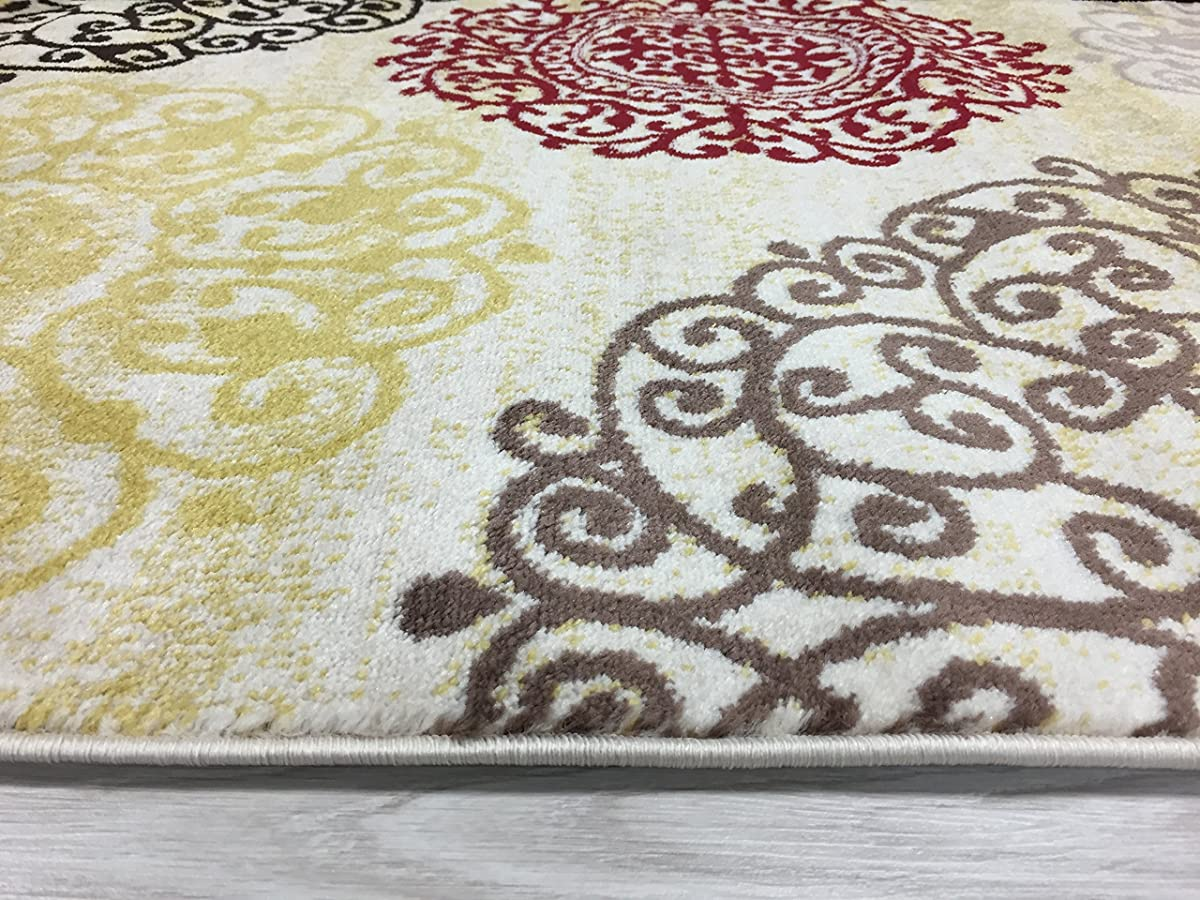 "Rugshop Contemporary Modern Floral Indoor Soft Area Rug, 53"" x 73"", Cream"