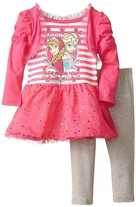 Disney-Little-Girls-2-Piece-Anna-and-Elsa-Dress-Set