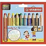 STABILO Woody 3-in-1 Colored Pencils, 10 mm Lead - 10-Color Set (Color: Multi, Tamaño: 10-Color Set)