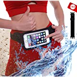 ?New Waterproof Running & Swimming Belt Fanny Pack for iPhone 6 7 X 8 8 Plus & Android Samsung - W/Touchscreen Cover - IPX8 Rated Waist Bag Pouch for OCR, Travel, Beach, Kayaking, Rafting and More! (Color: Royal Black, Tamaño: 27 - 45)