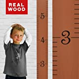 Growth Chart Art | Wooden Ruler Growth Chart for Kids [Boys and Girls] - Kids Room Décor Height Chart in 7X Fun Colors - Durable, Portable and Beautiful Measurement Wall Hanging - Truffle (Color: Truffle - second from left)