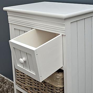 landhaus kommode regal schrank wei mit zwei schubladen und zwei k rbe korb in braun us253. Black Bedroom Furniture Sets. Home Design Ideas