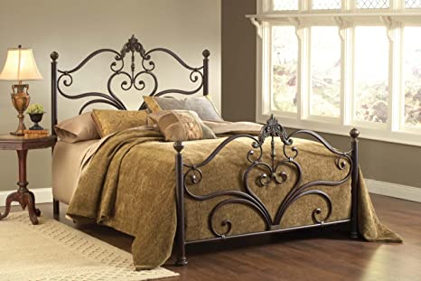 Hillsdale Furniture 1756BQR Newton Bed Set with Rails, Queen, Antique Brown Highlight