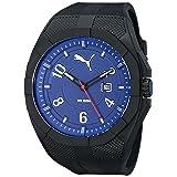 PUMA Men's PU103501008 Iconic Black Blue Analog Display Japanese Quartz Black Watch (Color: Black Blue)