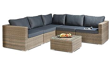 Alta calidad artlive 6piezas incluye cojín estructura de aluminio ratán de jardín-Conjunto de muebles de jardín Set Conjunto Asiento Grupo Jardín muebles muebles de sofá Lounge (gris de lujo colo