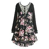 SaraSara Big Girls Long Sleeve Hi Low Dress (with Many Options), 7-16 (12, Black Multi) (Color: Black/Multicolor, Tamaño: 12)