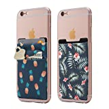 (Two) Stretchy Cell Phone Stick On Wallet Card Holder Phone Pocket For iPhone, Android and all smartphones. (Pineapple&Palm) (Color: Pineapple&Palm)