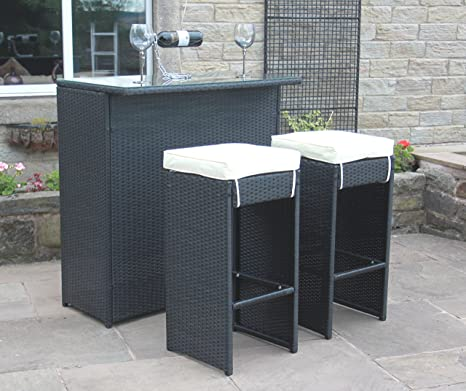 Rattan Outdoor 2 Seat Bar Table and Stool Set Garden Furniture in Black