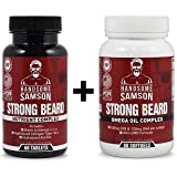 Beard Grower Vitamins & Omega-3 Beard Growth Product to Grow Thicker Beard Faster | A best facial hair grower, beard vitamin - for Beard Starter, Patchy Beard or to Grow Thick Beard