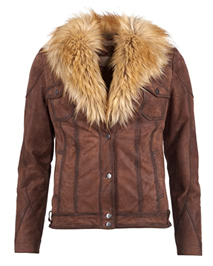 Tom Tailor Lederjacke, Damen 16-22 (Cognac)