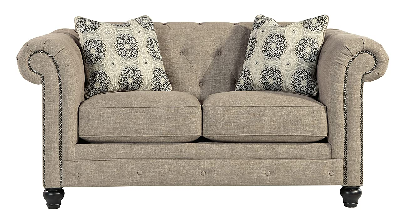 Azlyn Grey Vintage Casual Fabric Loveseat 0