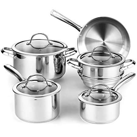 Cooks Standard 02492 9-Piece Classic Stainless-Steel Cookware Set Via Amazon