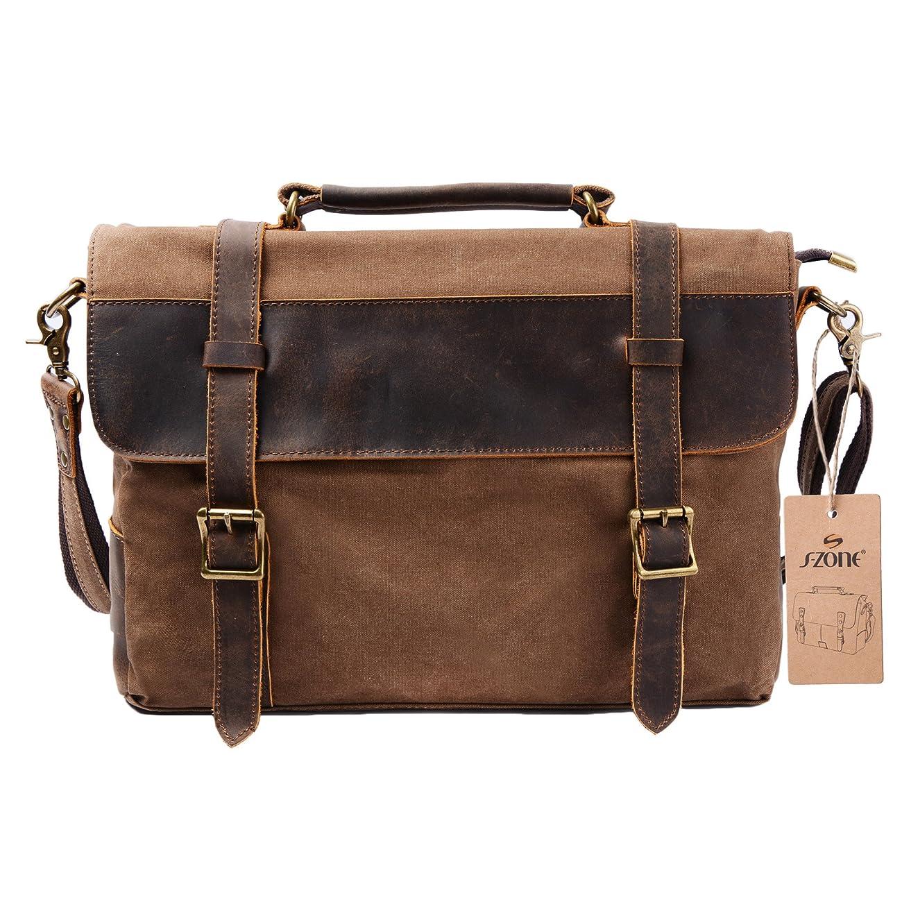 S ZONE Vintage Canvas Leather Messenger Traveling Briefcase Shoulder Laptop Bag 0