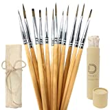 Dynamic Distraction Detail Paint Brush 12 Piece Set - for Acrylic, Watercolor, Oil, Miniature Painting, Perfect for Artists, Adults and Kids, Includes Dust Free Authentic Canvas Case