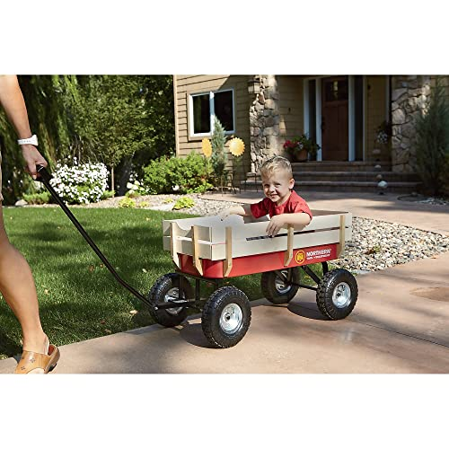 Big Roc Tools Wagon With Wooden Sides - Capacity 200 Lbs