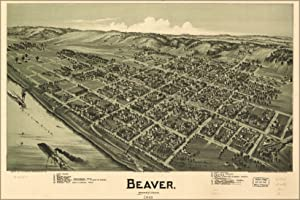 Birdseye View Map of Beaver, Pennsylvania 1900