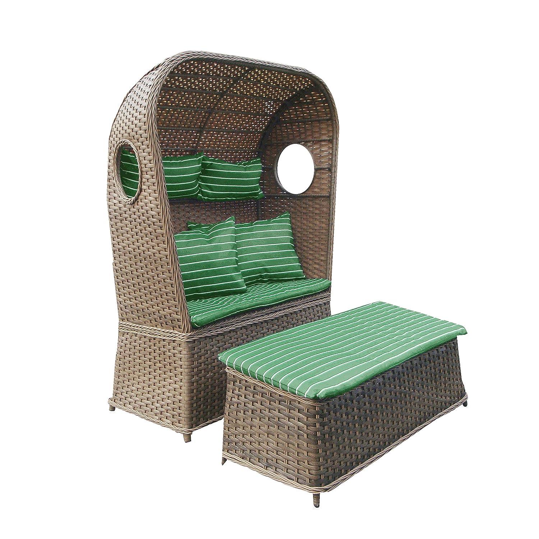 Strandkorb NOSTALGIE 2-Sitzer Korb mit Fußbank und Auflage grün, LILIMO ®