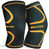 Blitzu Flex Plus Compression Knee Brace for Joint Pain, Meniscus Tear, ACL, MCL and Arthritis Relief Improve Circulation Support for Running, Gym Workout Recovery Best Sleeves Patella Stabilizer Pad S (Color: Orange, Tamaño: Small)