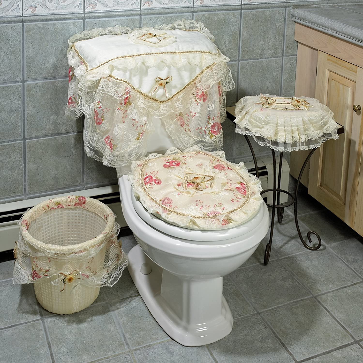 Lacey linen pink flowers bathroom set toilet tank seat for Pink bathroom bin