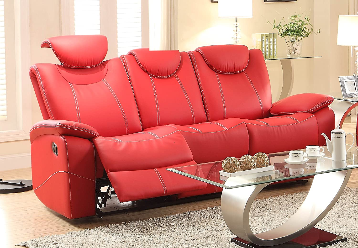 Homelegance Talbot Double Reclining Sofa in Red Leather