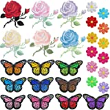 PGMJ 40pcs Embroidery Applique Patches Rose Flowers Butterfly Sunflowers Iron On Patches For Jackets, Jeans, Bags, Clothing, Arts Crafts DIY Decoration (Color: Multicoloured, Tamaño: Medium)