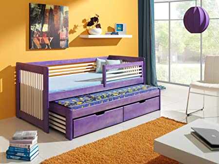 ANATOL Children Bed with Trundle Bed - Pine Wood - 24 Colours - 2 Sizes - 4 Types of Mattresses (UK Standard 199cm x 94cm x 80cm)