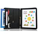 STYLIO Zippered Padfolio Portfolio Binder, Interview Resume Document Organizer. Internal Holders For iPad/Tablet (up to 10.1