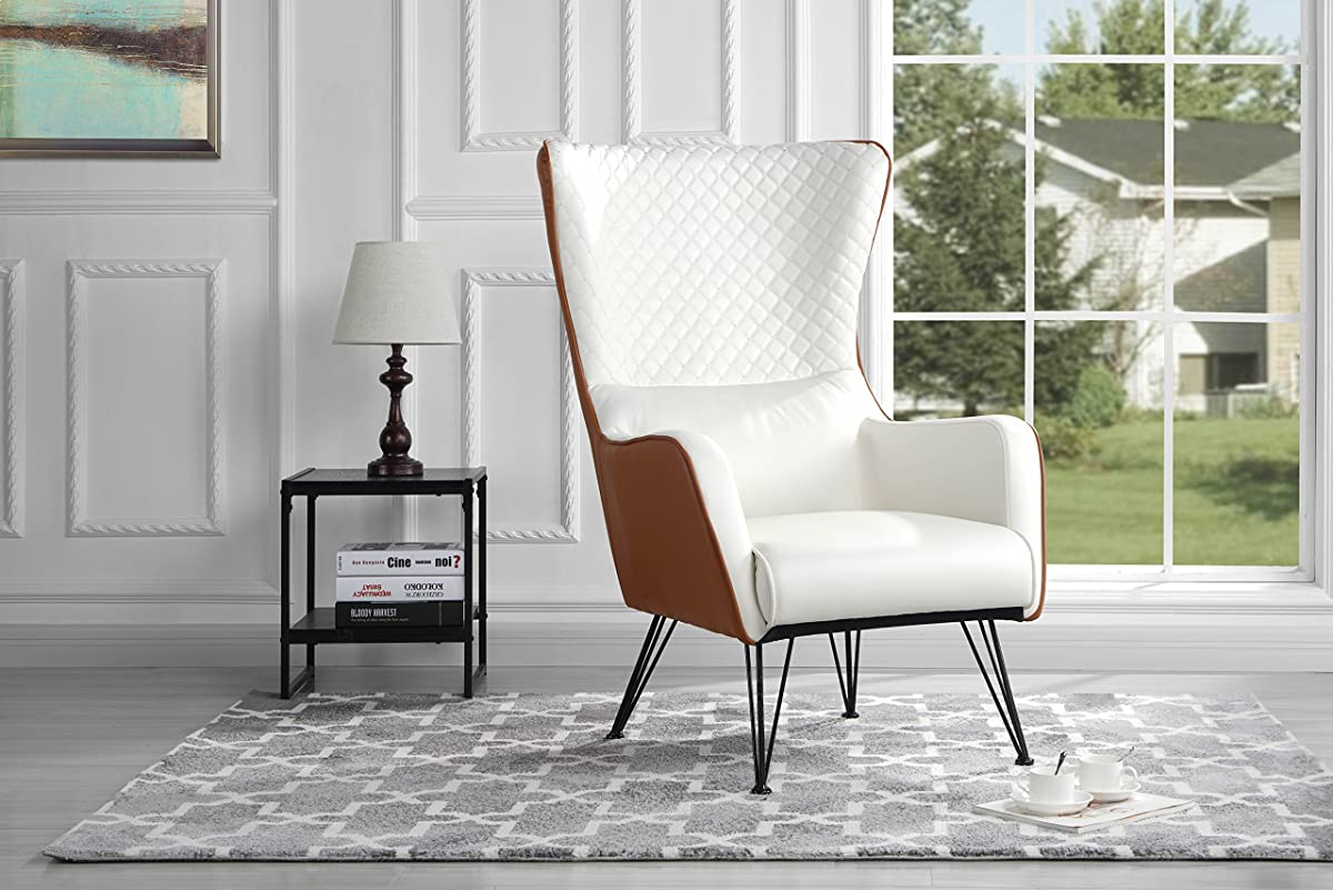 Mid-Century Modern Faux Leather Accent Armchair Shelter Style Living Room Chair (Camel/White)