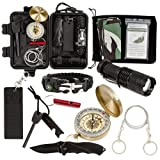 Survival Kit 13 in 1 - Everyday Carry Gear - Emergency Survival Gear Kit For Outdoor Adventure Like Hiking, Camping, Travel - Wilderness Survival Kit - Essential EDC Kit Come With A Military Headscarf (Color: Black)