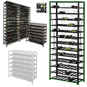 Weinregal / Flaschenregal BLACK PURE, für 195 Flaschen, Metall schwarz pulverbeschichtet, erweiterbar  H 200 x B 80 x T 30 cm  Überprüfung und weitere Informationen