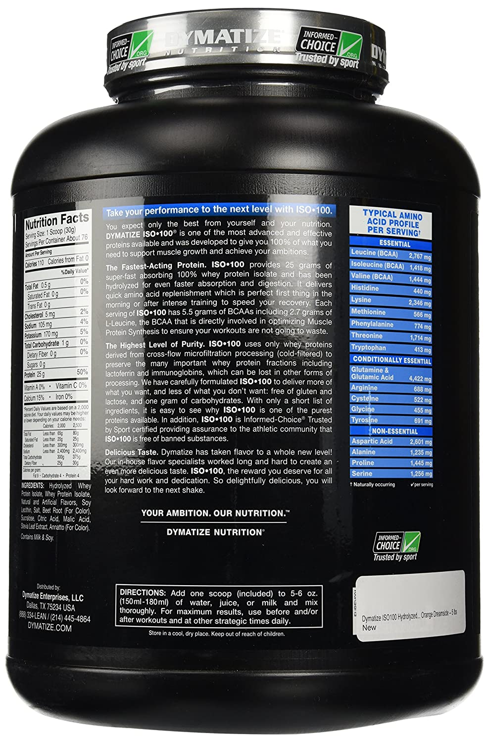 Dymatize ISO 100 Hydrolyzed - 5 lb Orange Dreamsicle