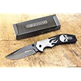Wartech Thumb Open Spring Assisted Skull Aluminium Handle Pocket Knife (PWT256GY) (Color: PWT256GY)