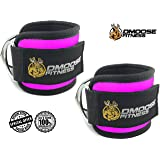 DMoose Fitness Ankle Straps for Cable Machines - Stainless Steel Double D-Ring, Adjustable Comfort fit Neoprene, Glute & Leg Workouts - For Men & Women (Magenta, Pair)