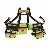 Bucket Boss 3 Bag Tool Belt with Suspenders in Safety Yellow with High-Visibility, 55185-HVOY (Color: 3M Scotchlite High Visibility)