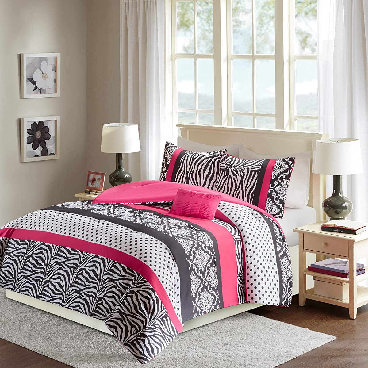Comfort Spaces - Sally Comforter Set - 4 Piece - Hot Pink & Black - Zebra, Damask, Polka dot print - Queen Size, includes 1 Comforter, 2 Shams, 1 Decorative Pillow